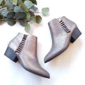JustFab • Aryssa gray sparkle booties with ruffle